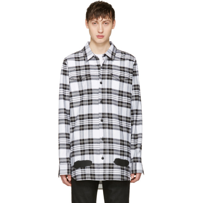 Photo: Off-White White Check Diagonal Spray Shirt