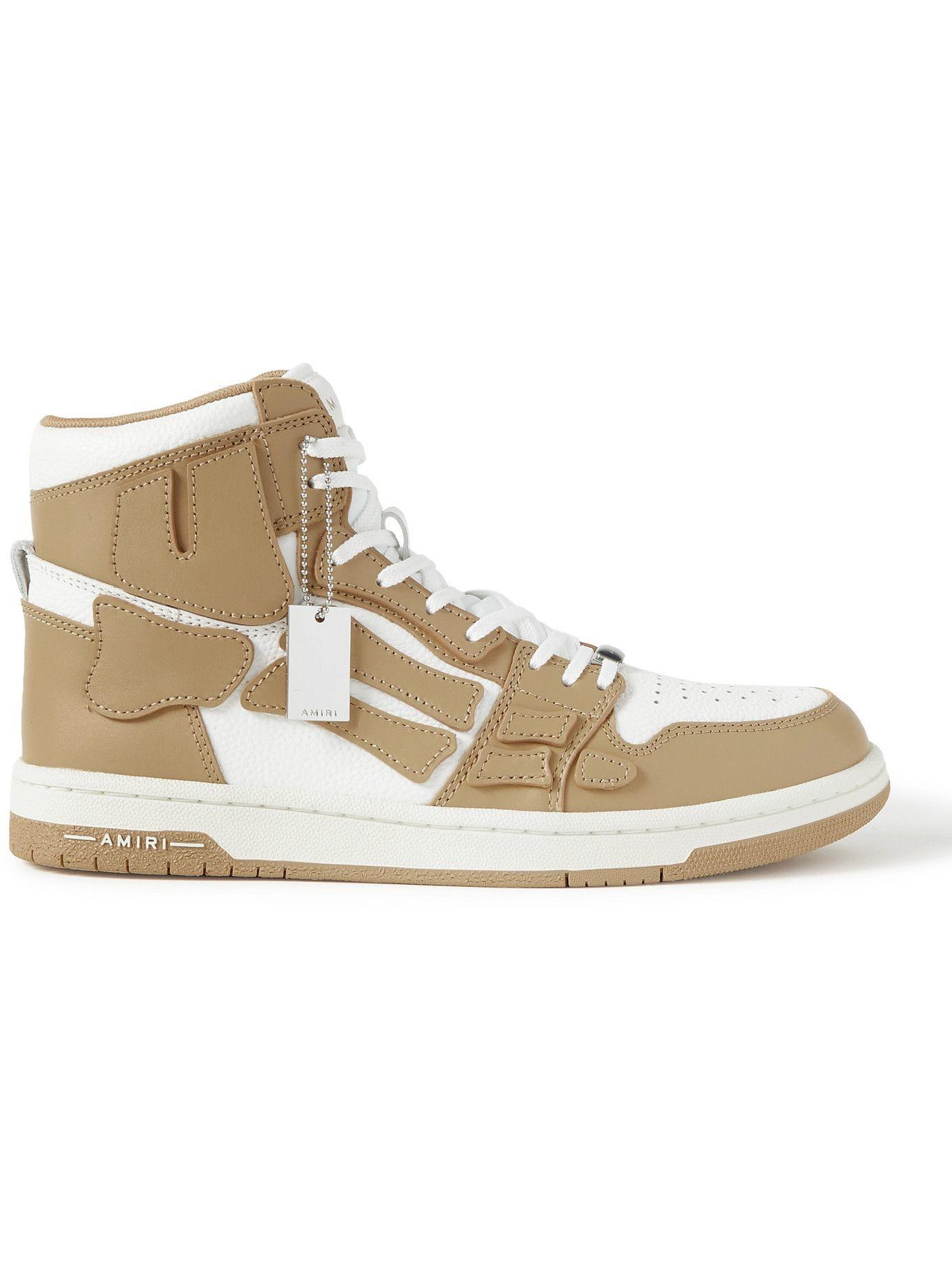Photo: AMIRI - Skel-Top Colour-Block Leather High-Top Sneakers - Brown