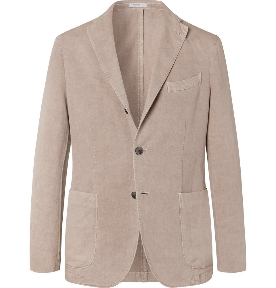 Photo: Boglioli - Sand K-Jacket Slim-Fit Unstructured Stretch-Cotton Drill Blazer - Beige