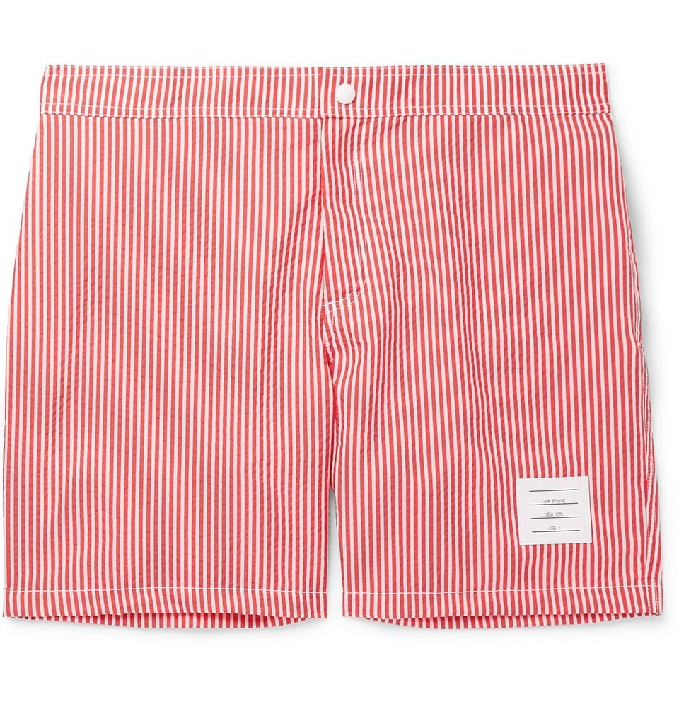Photo: Thom Browne - Mid-Length Striped Seersucker Swim Shorts - Red
