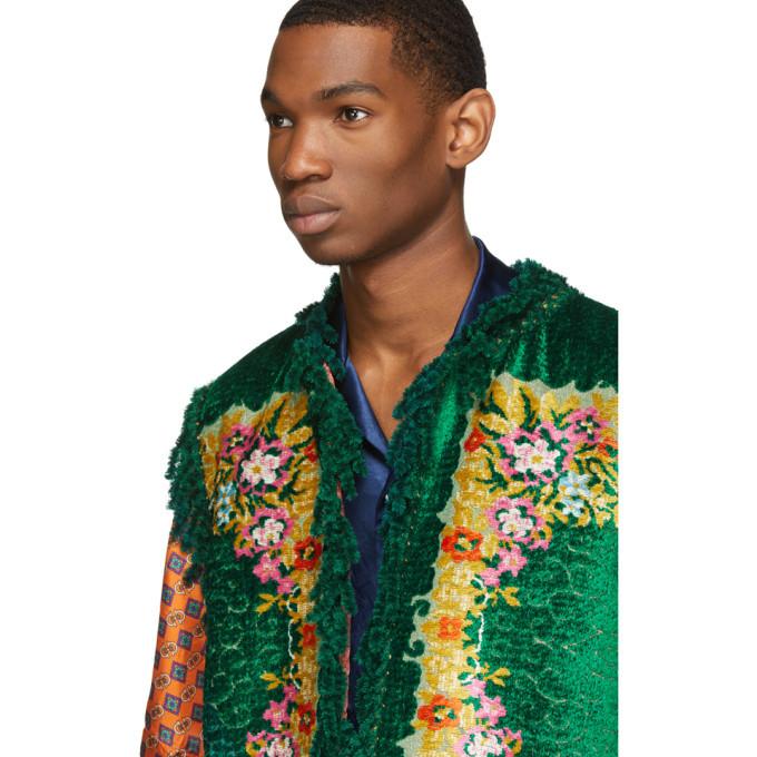 3ace8527901 Gucci Green Floral Velvet Jacquard Vest Gucci