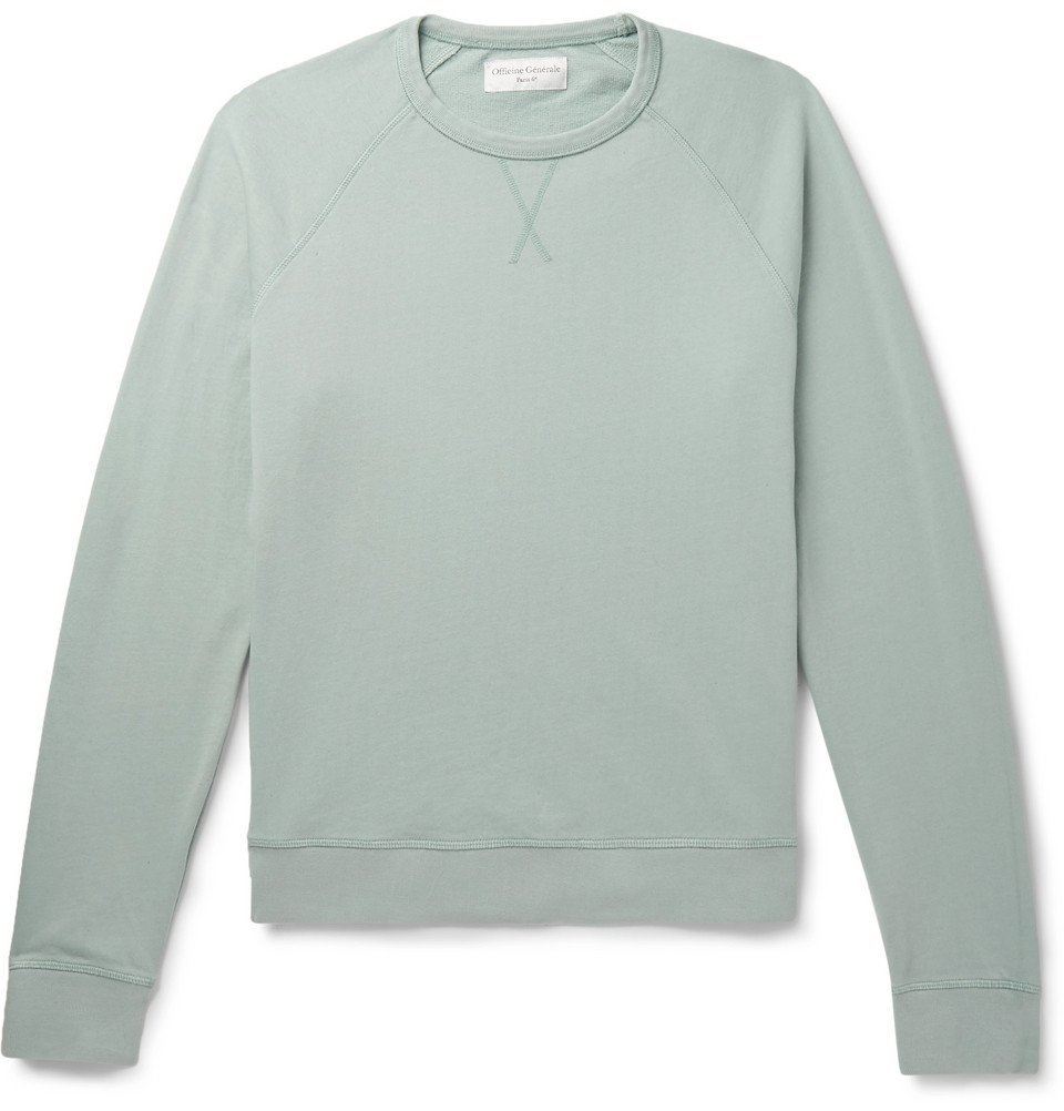 Photo: Officine Generale - Loopback Cotton-Terry Sweatshirt - Green