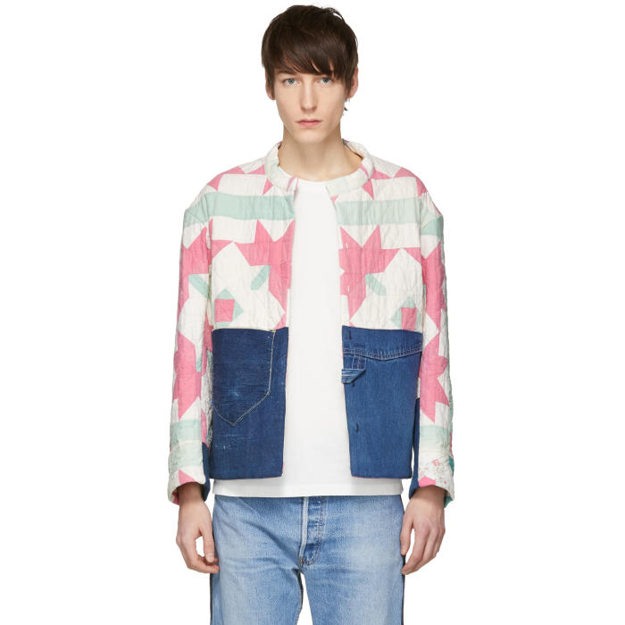 Photo: B Sides Off-White and Indigo Bode Edition Quilt Apron Denim Jacket