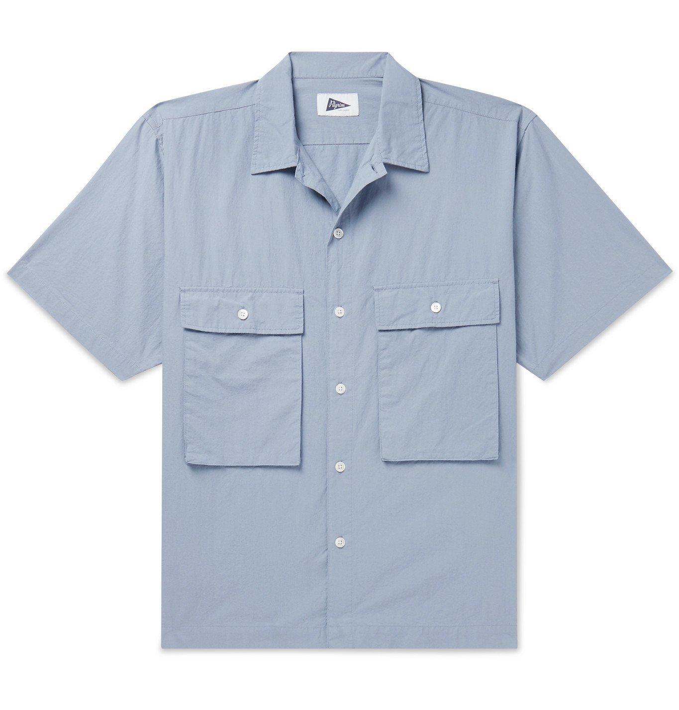 Photo: Pilgrim Surf Supply - Ivan Camp-Collar Cotton-Poplin Shirt - Blue