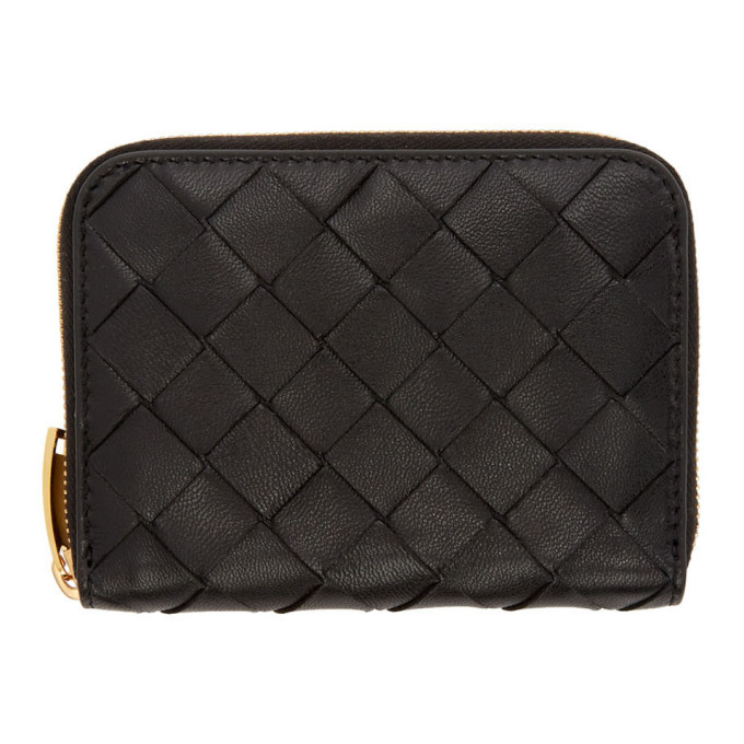Photo: Bottega Veneta Black Mini Intrecciato Continental Wallet