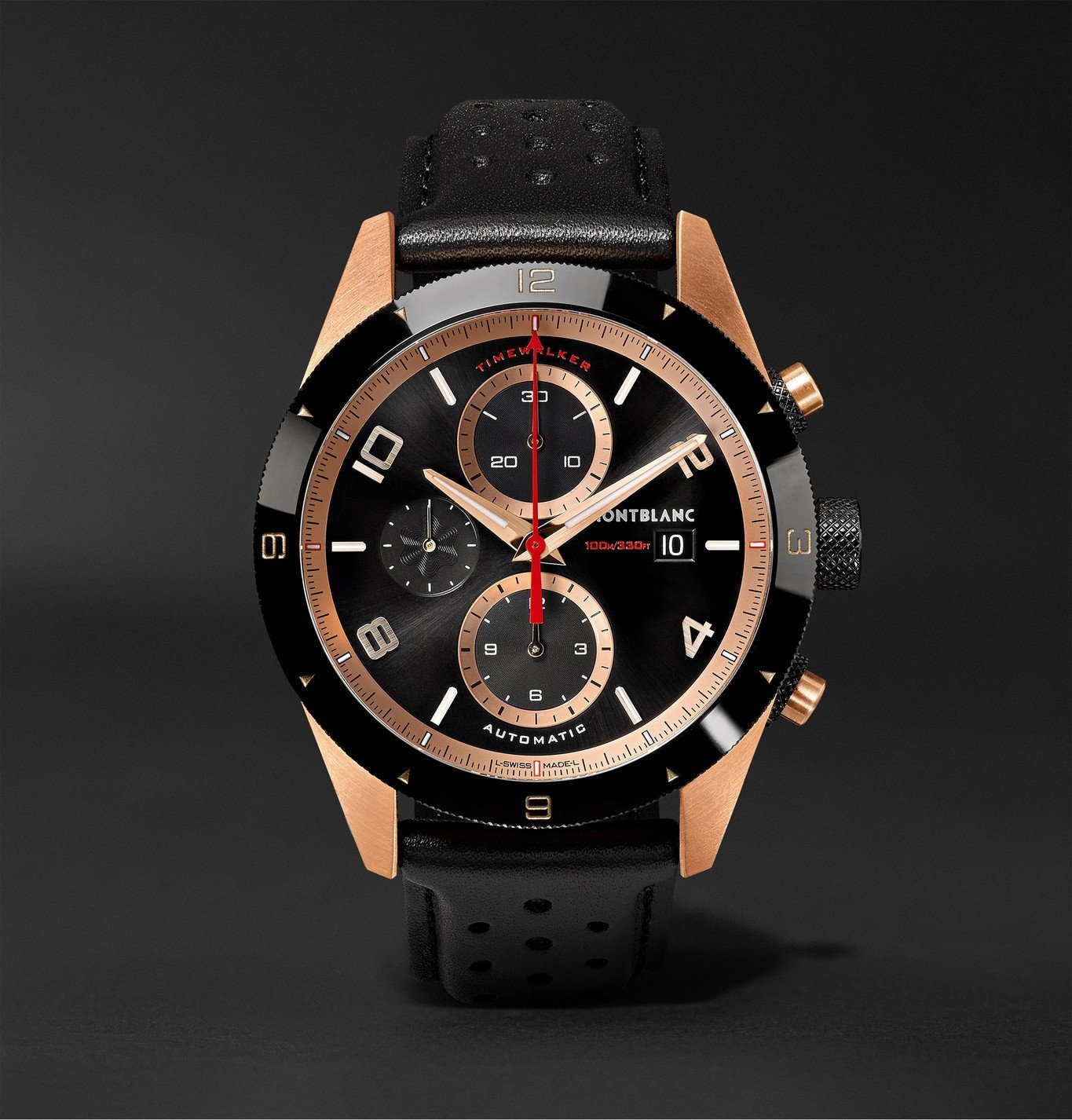 Montblanc - TimeWalker Automatic Chronograph 43mm 18-Karat Red Gold, Ceramic and Leather Watch, Ref. No. 117051 - Black