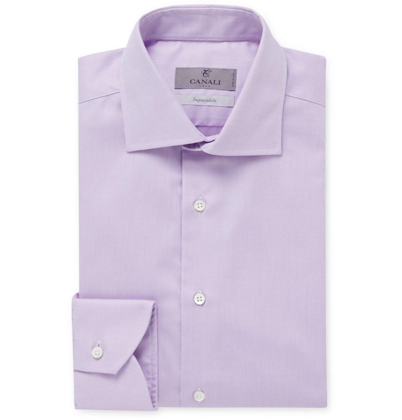 Photo: Canali - Cutaway-Collar Pin-Dot Cotton Shirt - Purple
