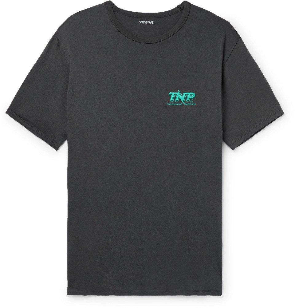Photo: nonnative - Embroidered Cotton-Jersey T-Shirt - Charcoal