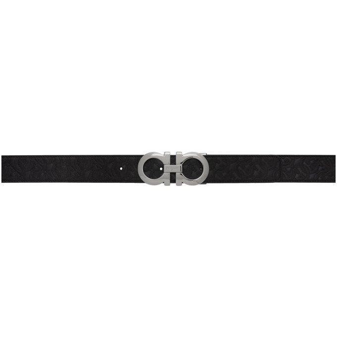 Photo: Salvatore Ferragamo Reversible Black Gancini Embossed Belt