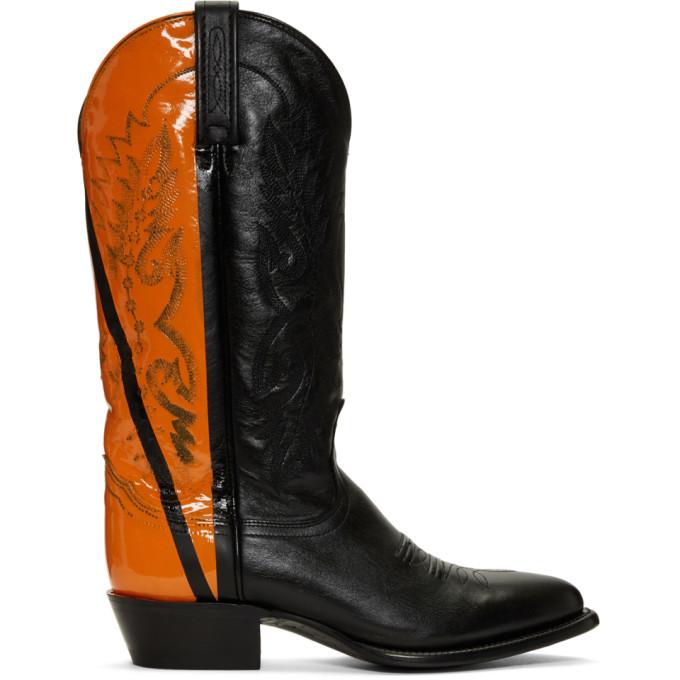 Photo: Helmut Lang Black and Orange Sarah Morris Edition Cowboy Boots