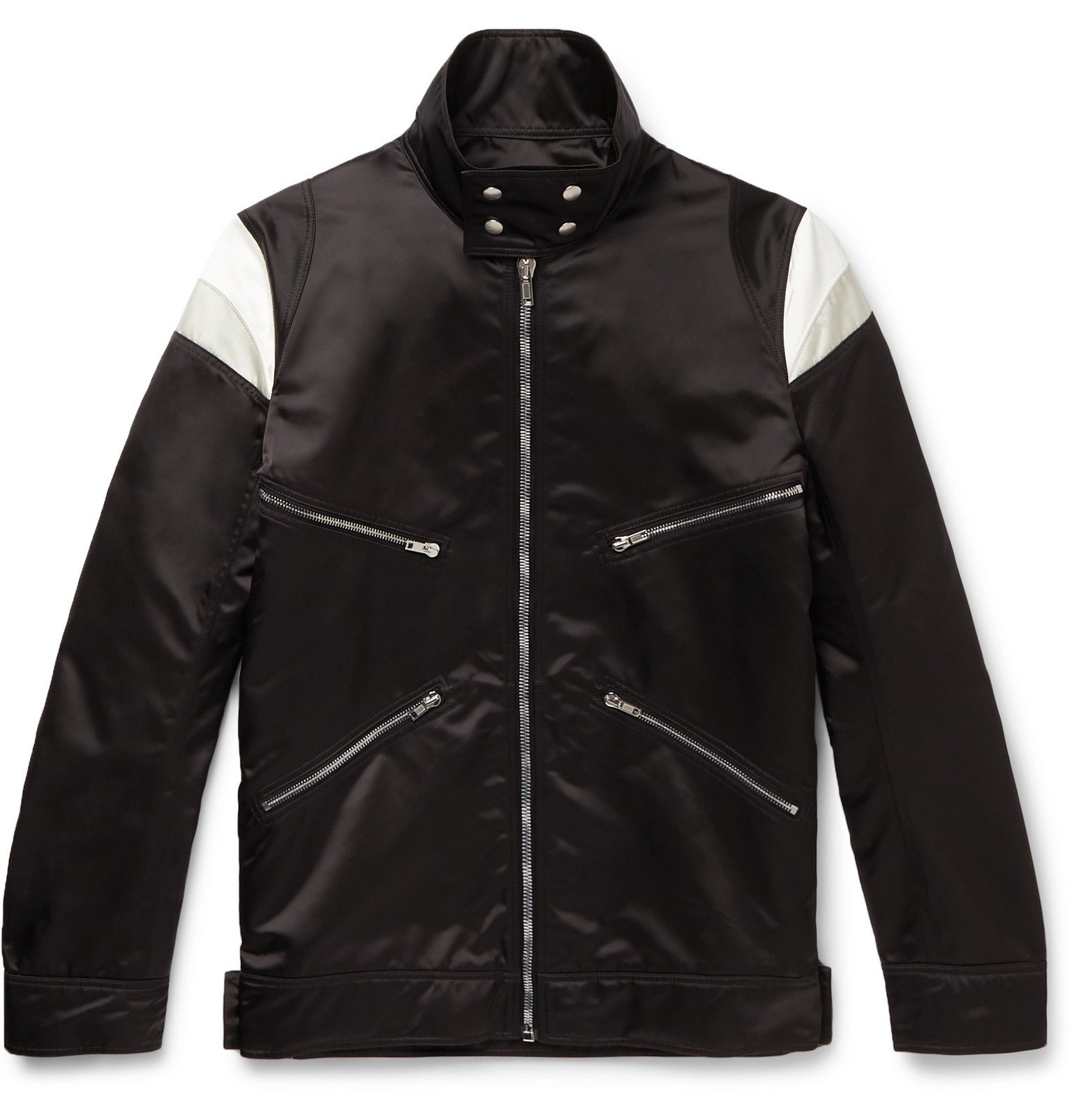 Photo: Rick Owens - Ies Panelled Nylon Biker Jacket - Black