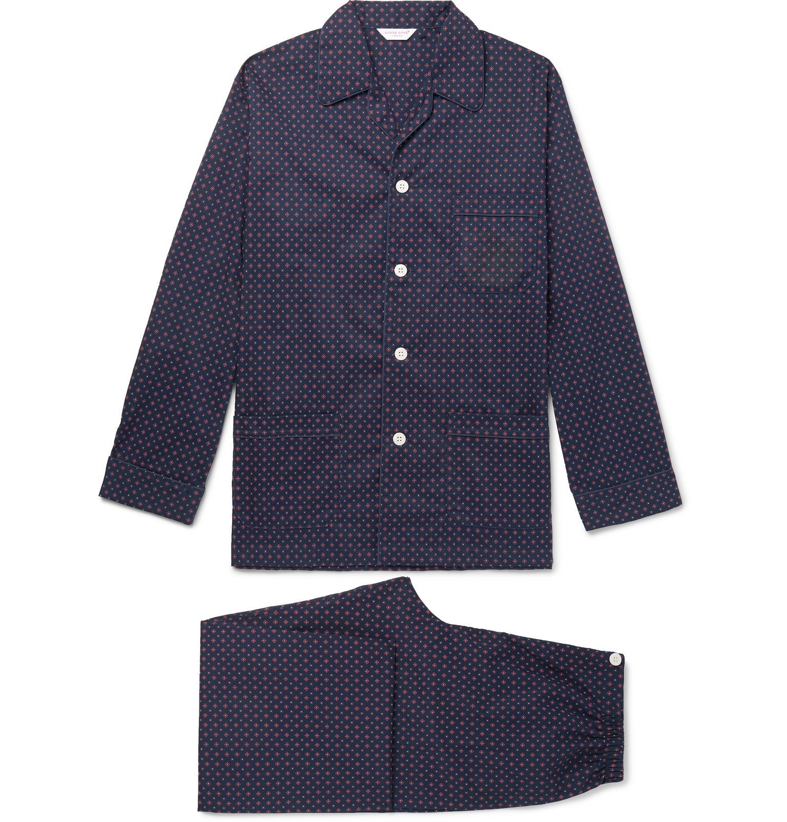 Photo: Derek Rose - Nelson 72 Printed Cotton-Poplin Pyjama Set - Blue