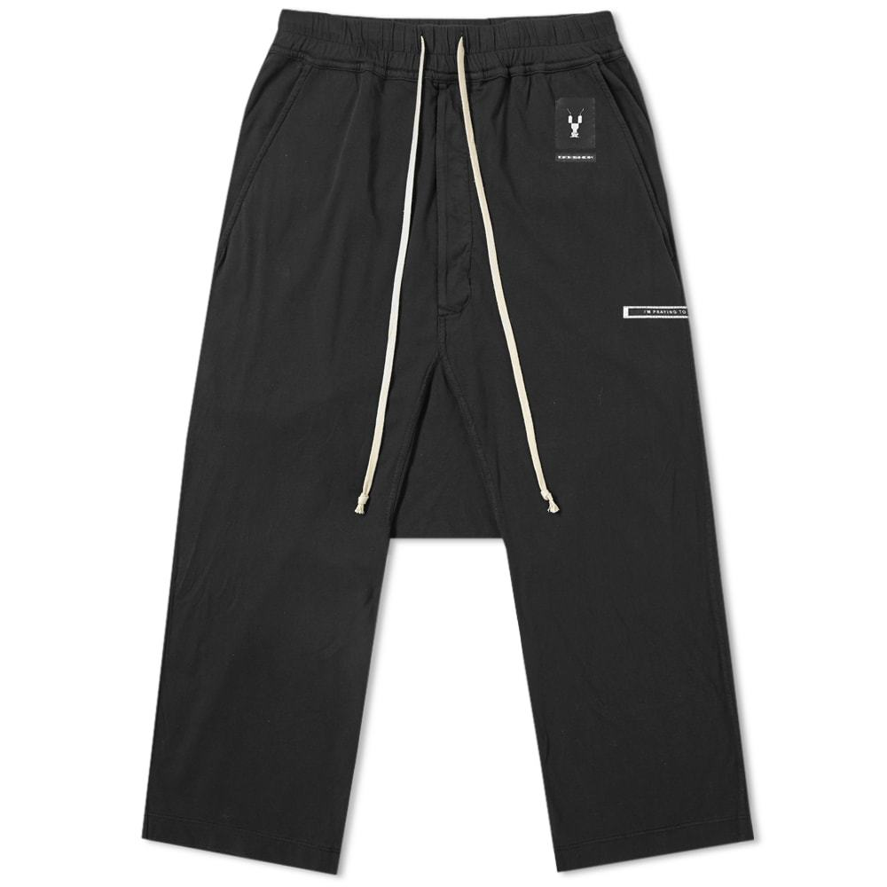 Photo: Rick Owens DRKSHDW Logo Patch Drawstring Cropped Pant