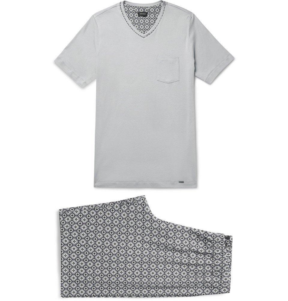 Hanro - Printed Cotton-Jersey Pyjama Set - Men - Gray