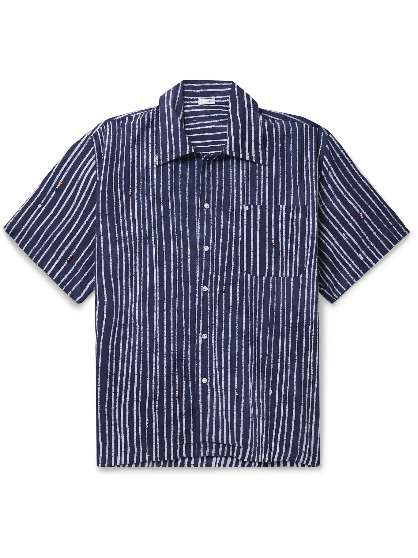 Photo: Post-Imperial - Striped Beaded Indigo-Dyed Cotton Shirt - Blue