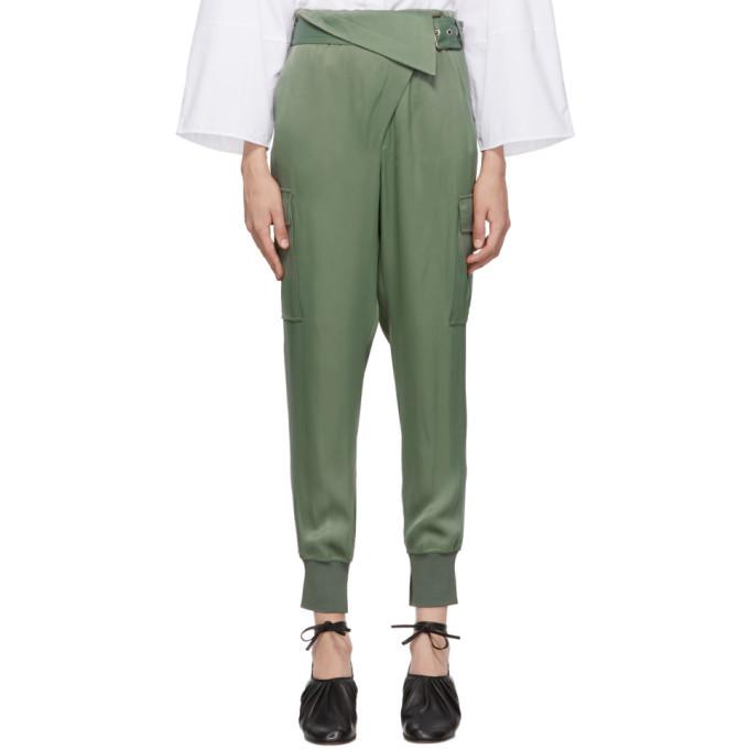 3.1 Phillip Lim Green Satin Cargo Trousers