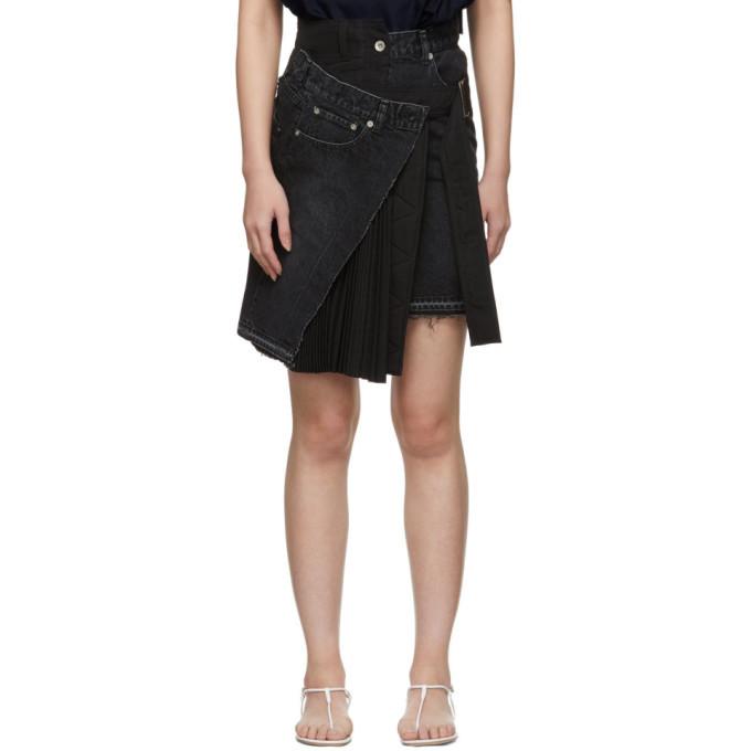 Sacai Black Velvet Denim X Uncut Skirt