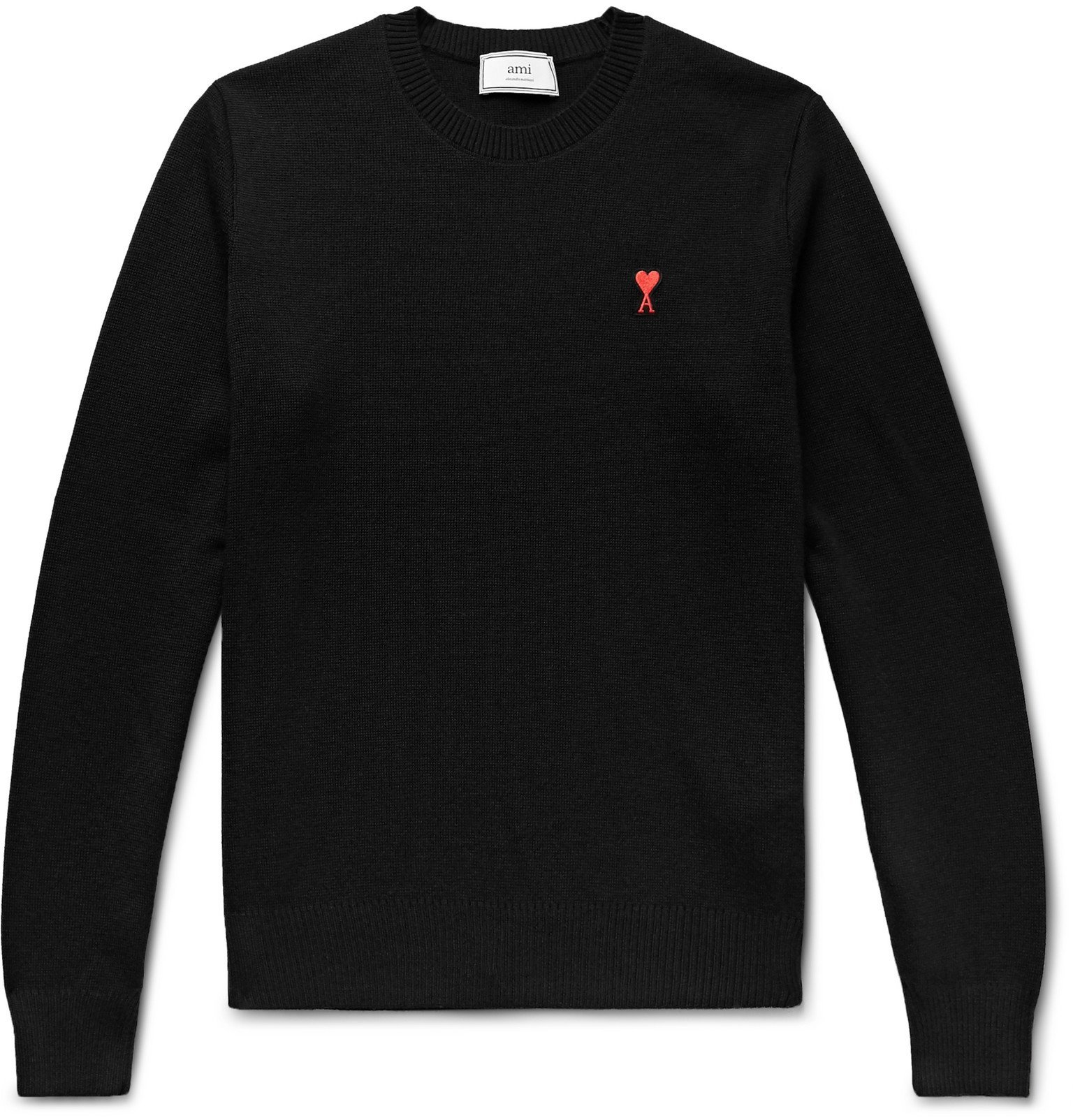 Photo: AMI - Logo-Appliquéd Merino Wool Sweater - Black