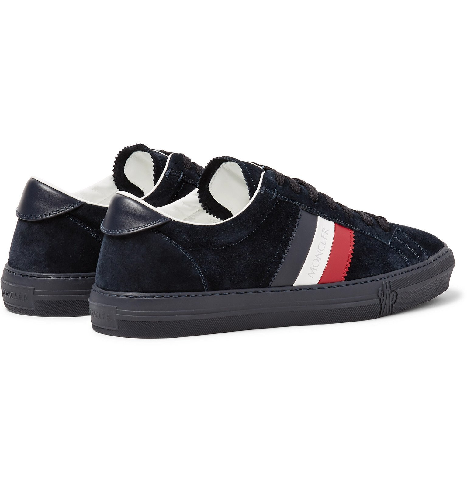 Moncler - New Monaco Leather and Suede Sneakers - Blue