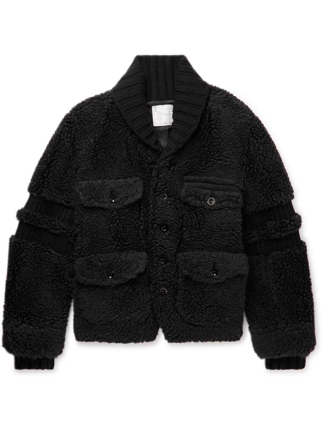 Photo: Sacai - Faux Shearling and Ribbed Wool Varsity Jacket - Black