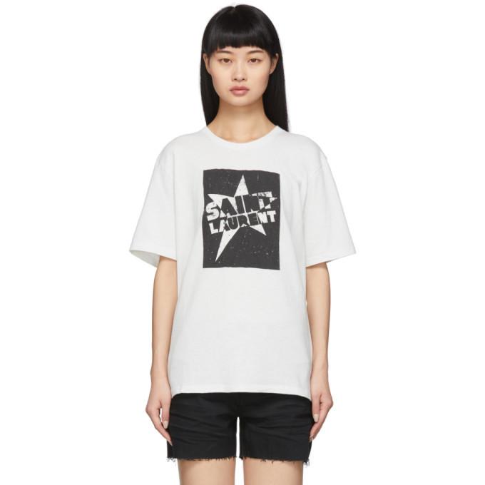 Photo: Saint Laurent White Saint Laurent Star T-Shirt