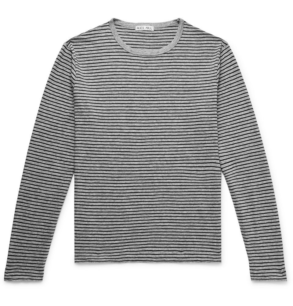 Photo: Alex Mill - Striped Slub Cotton-Jersey T-Shirt - Gray