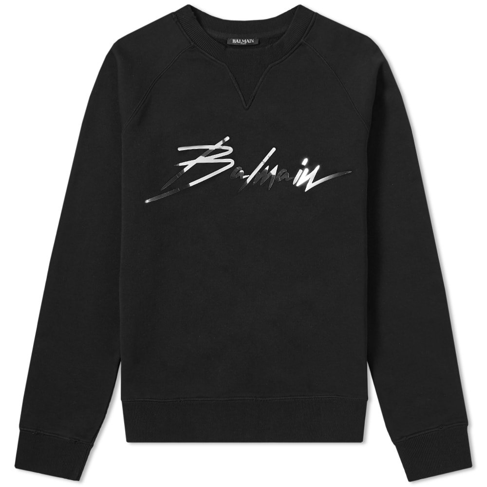 Photo: Balmain Signature Foil Logo Crew Sweat Black