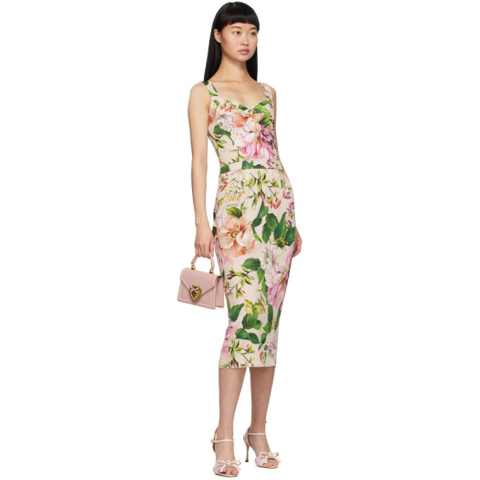 Dolce and Gabbana Pink Floral Charmeuse Tank Top