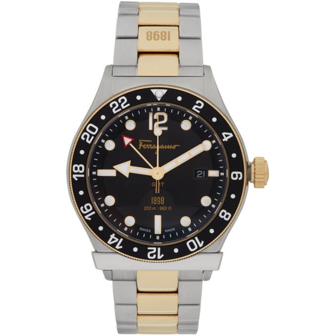 Photo: Salvatore Ferragamo Silver and Gold 1898 GMT Watch