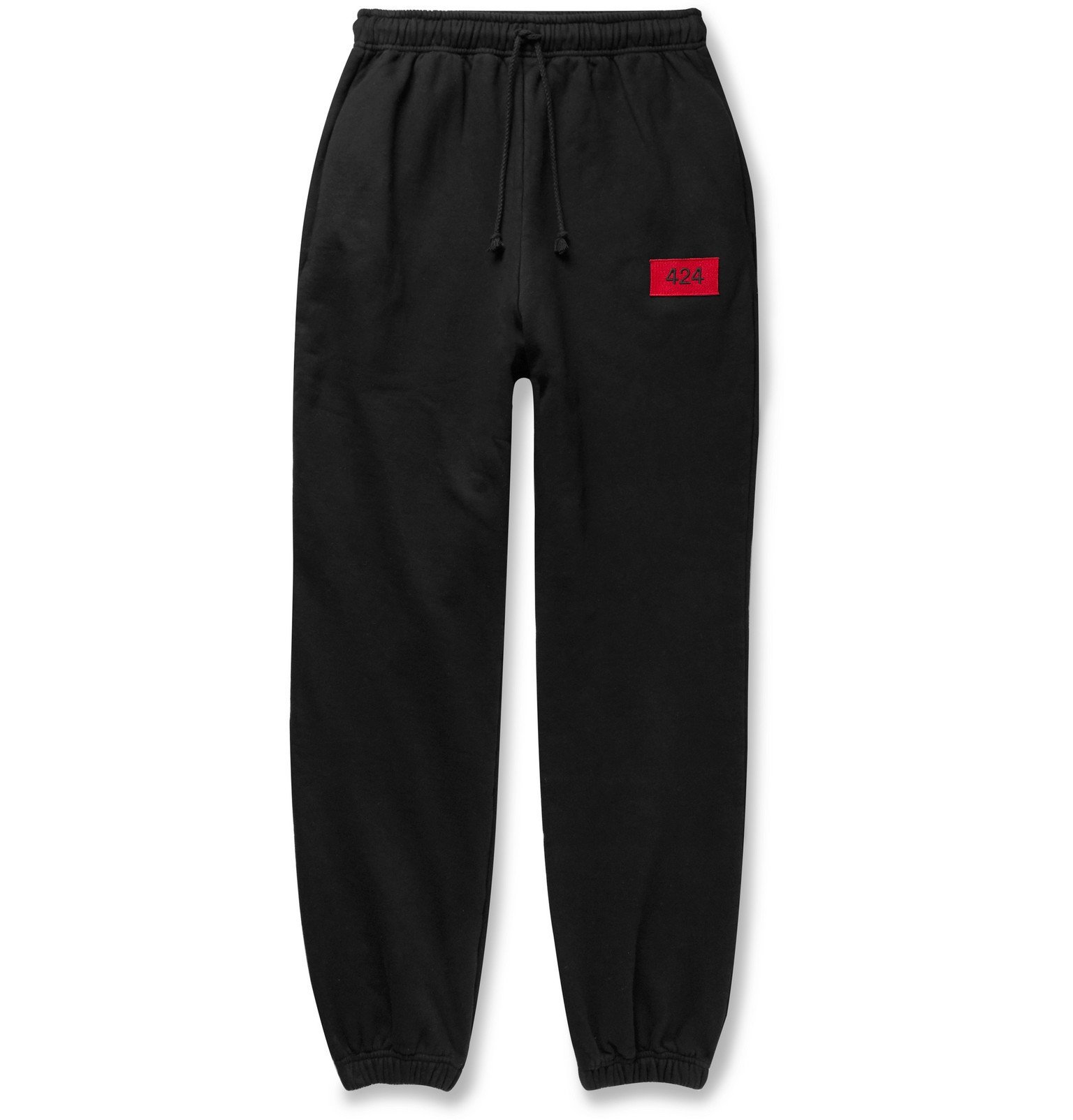 Photo: 424 - Logo-Embroidered Fleece-Back Cotton-Jersey Sweatpants - Black