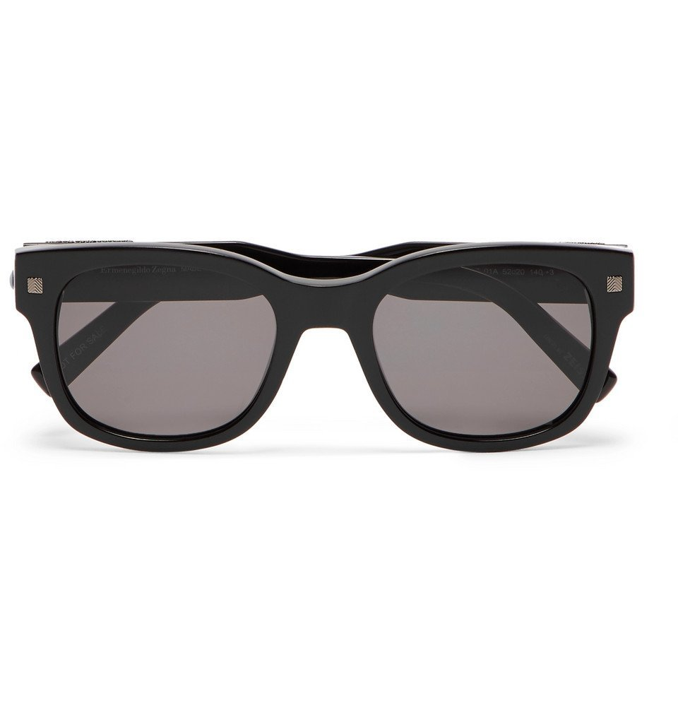 Photo: Ermenegildo Zegna - Square-Frame Acetate Sunglasses - Black