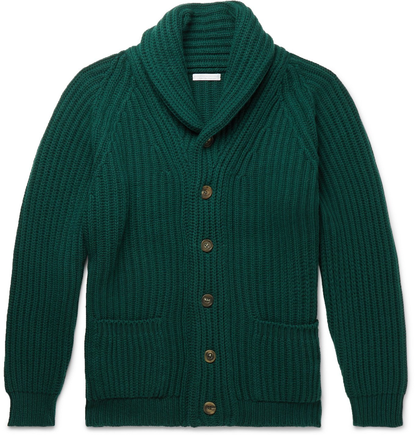 Photo: Anderson & Sheppard - Shawl-Collar Ribbed Cashmere Cardigan - Green
