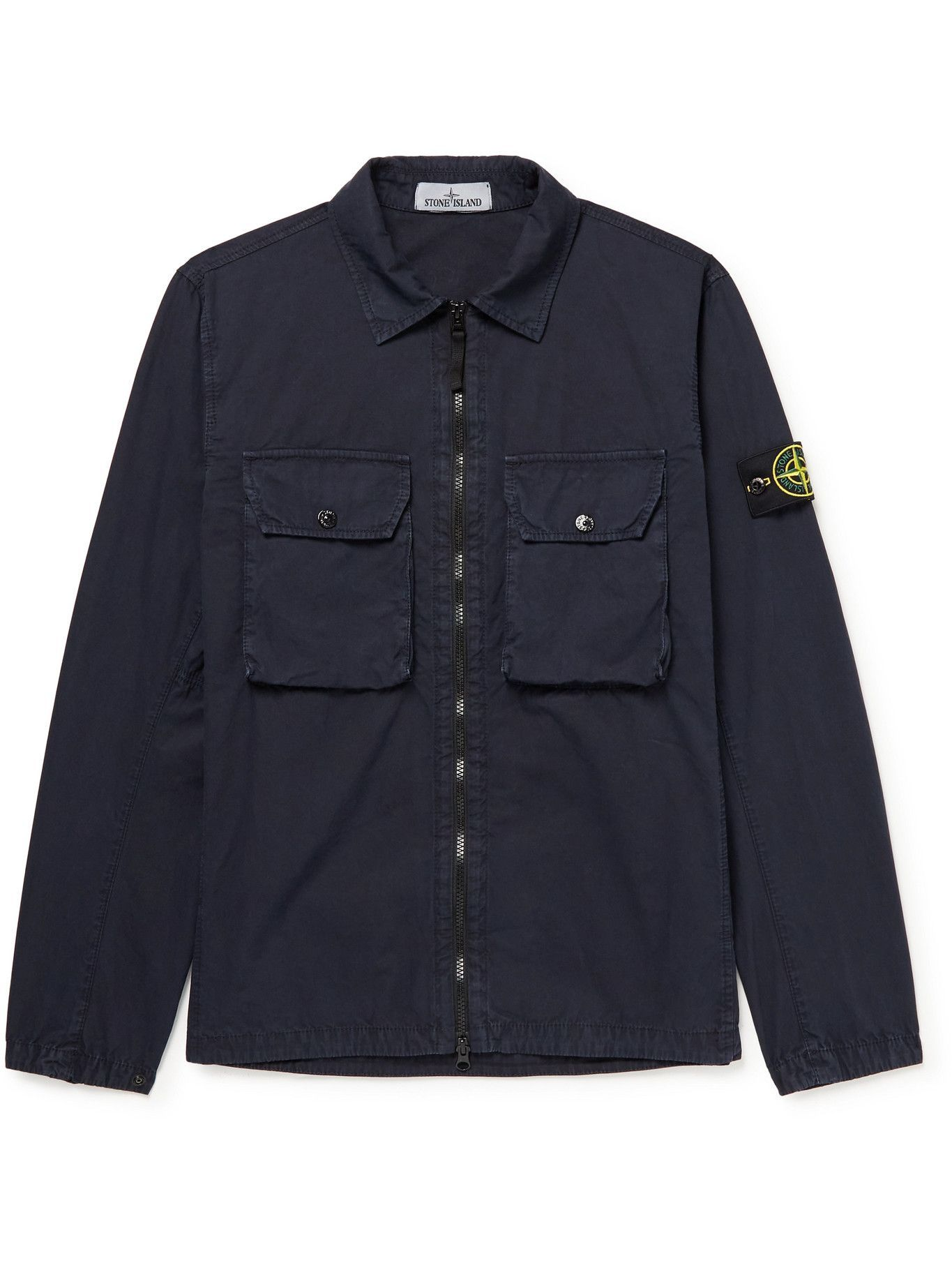 Photo: Stone Island - Logo-Appliquéd Garment-Dyed Cotton-Twill Overshirt - Blue
