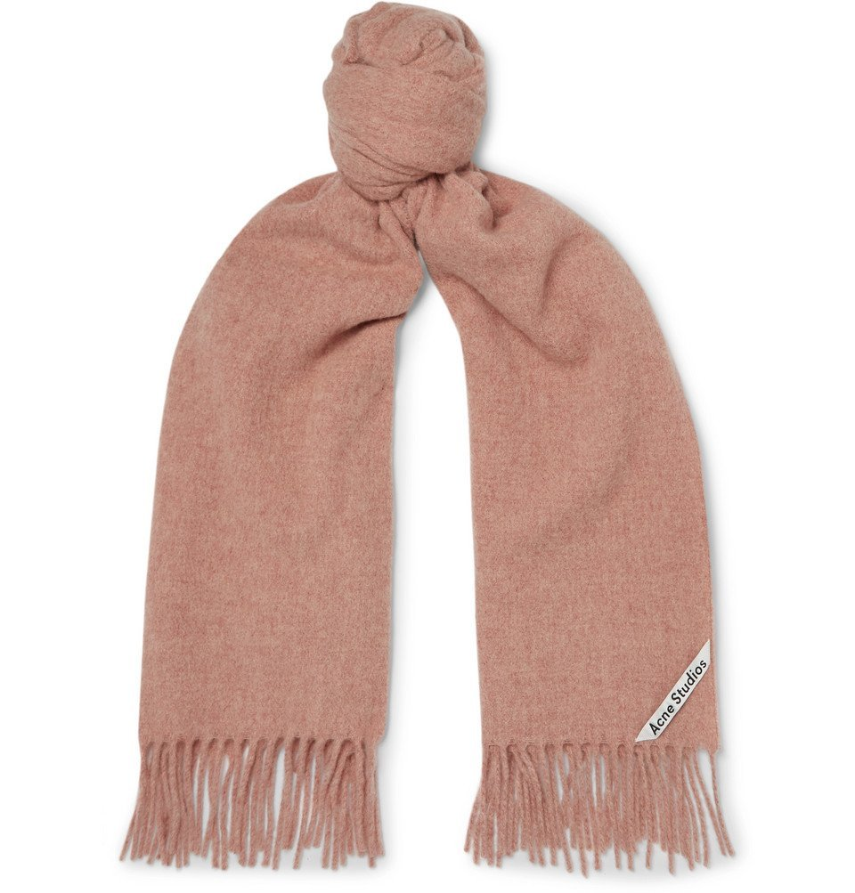Photo: Acne Studios - Canada Narrow Fringed Mélange Wool Scarf - Pink