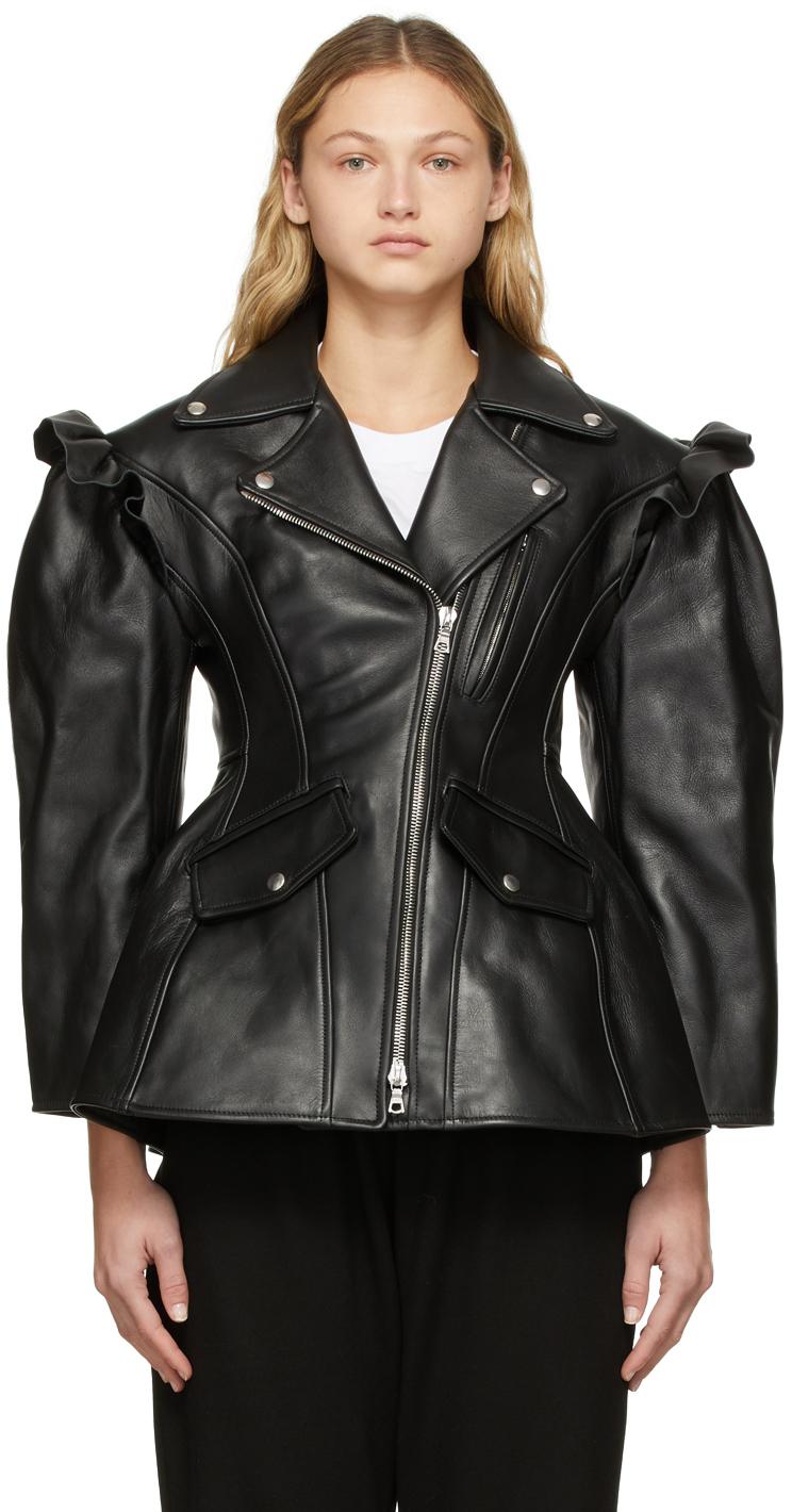 Photo: Simone Rocha Black Leather Sculpted Biker Detail Jacket