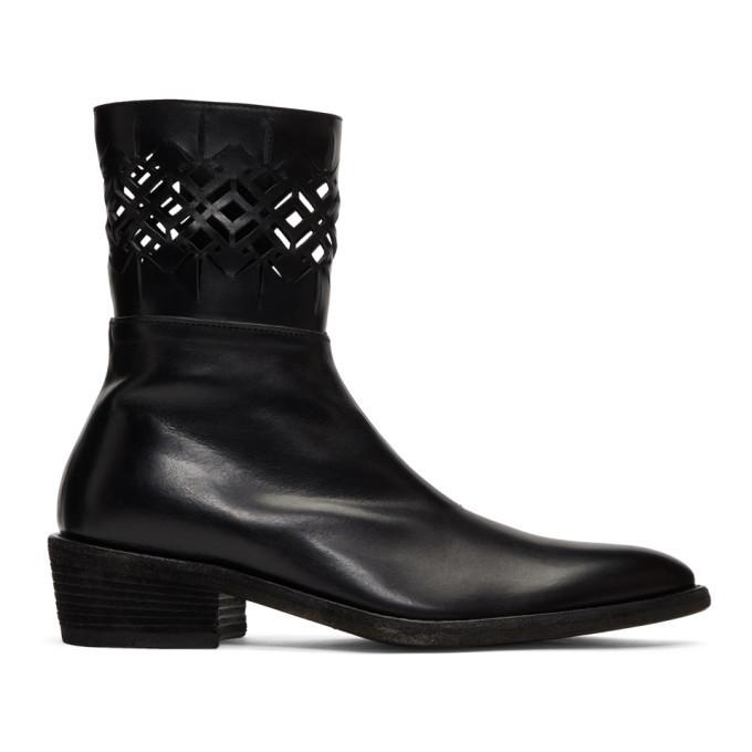 Photo: Haider Ackermann Black Laser Cut Cowboy Boots