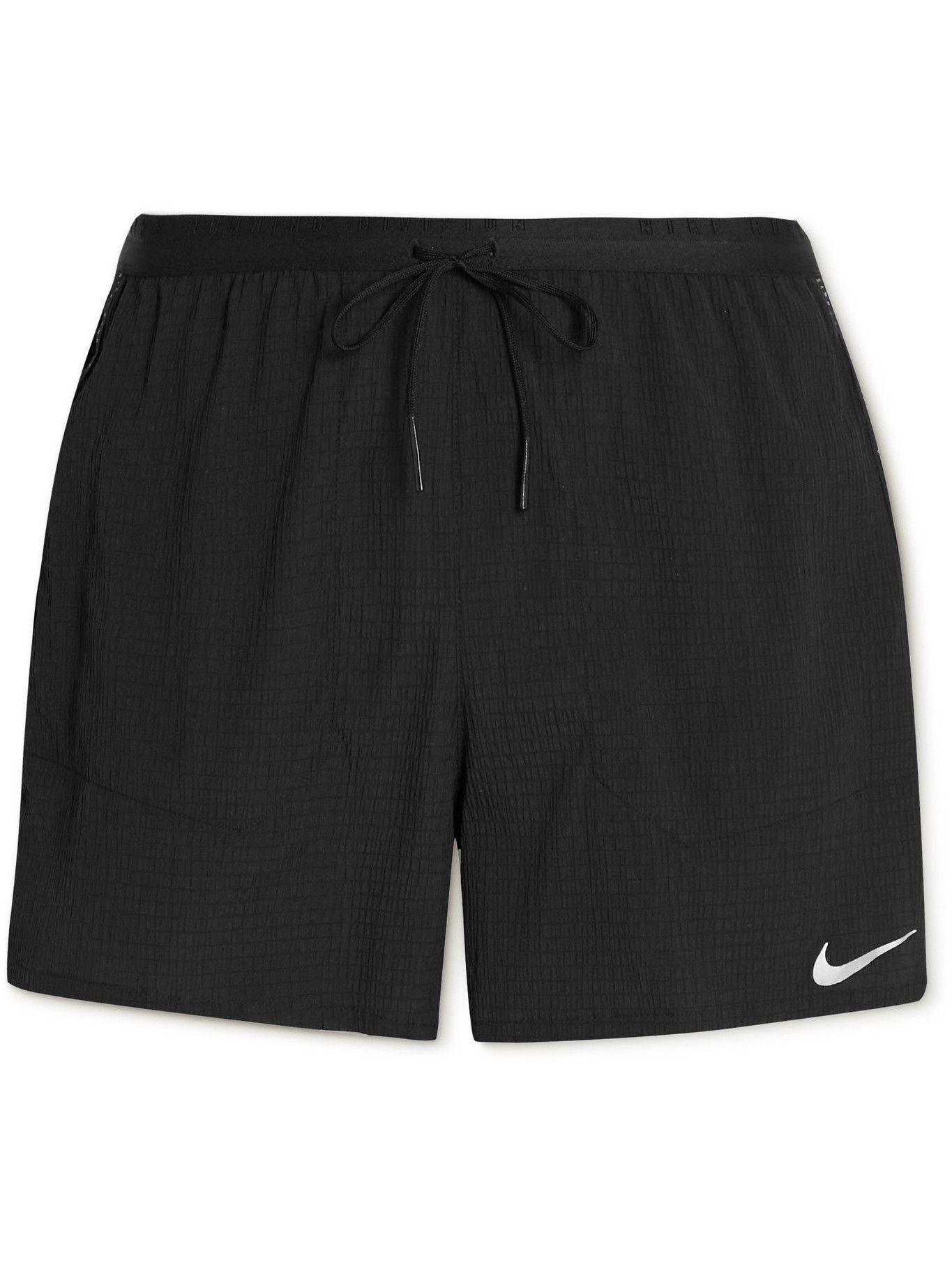 NIKE RUNNING - Flex Stride Run Division Crinkled Stretch-Nylon and Shell Shorts - Black