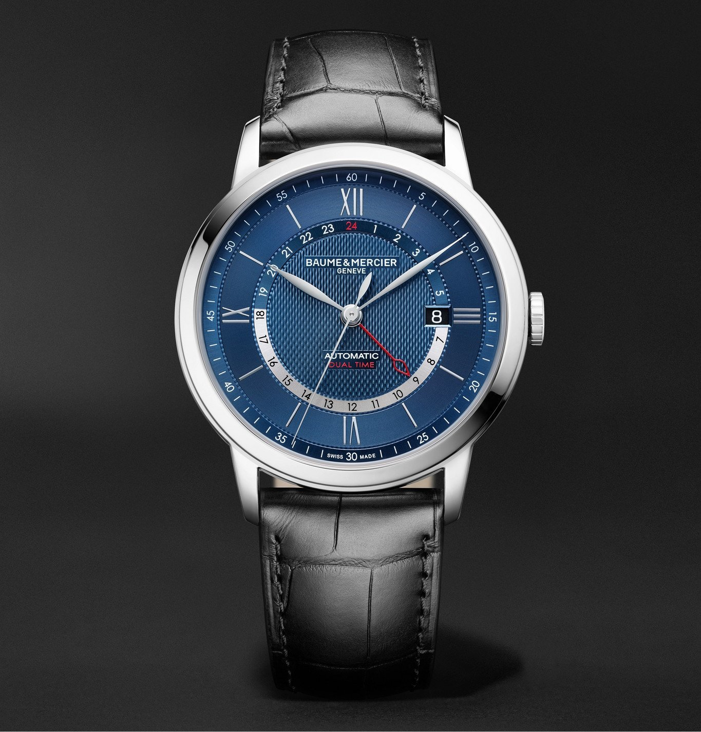 Photo: Baume & Mercier - Classima Automatic 42mm Stainless Steel and Alligator Watch, Ref. No. M0A10482 - Blue