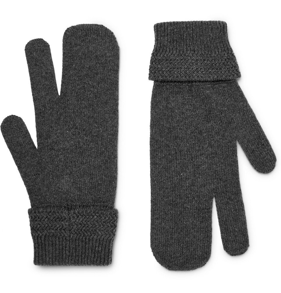 Photo: Maison Margiela - Mélange Wool and Cashmere-Blend Mittens - Gray