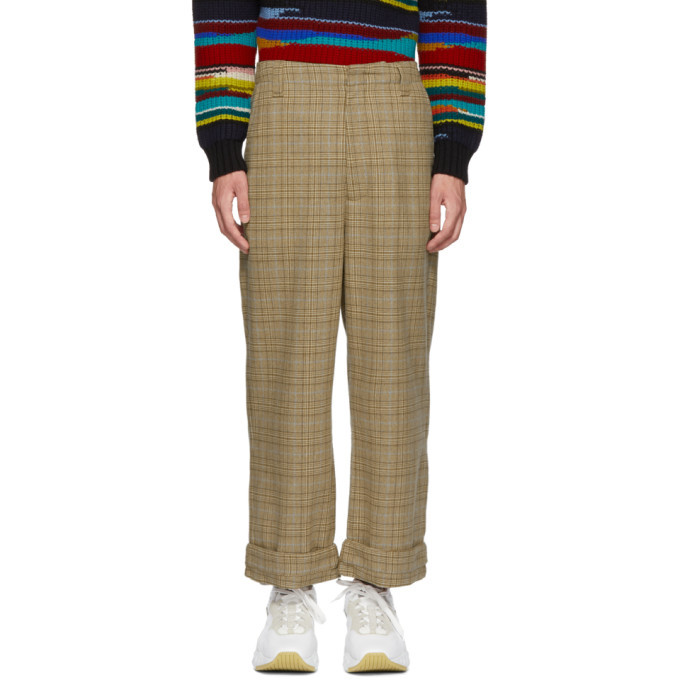 Acne Studios Beige and Blue Checkered Trousers