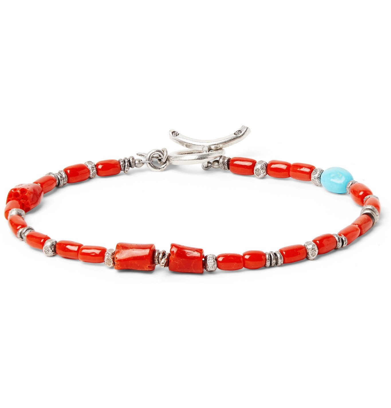 Photo: Peyote Bird - Coral, Turquoise and Burnished Sterling Silver Bracelet - Red