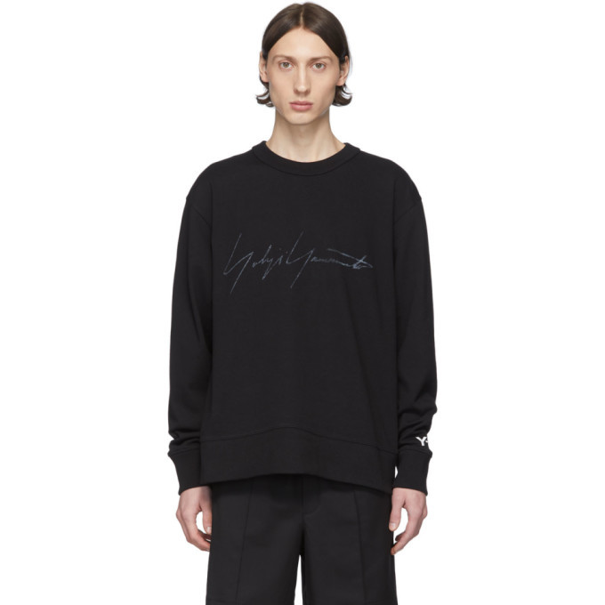 Photo: Y-3 Black Distressed Logo Sweatshirt