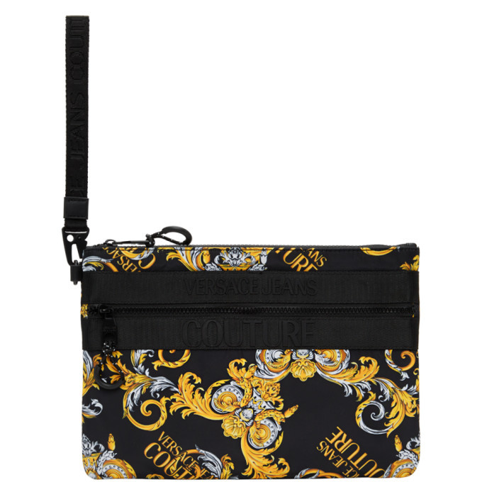 Versace Jeans Couture Black and Gold Barrocco Logo Pouch