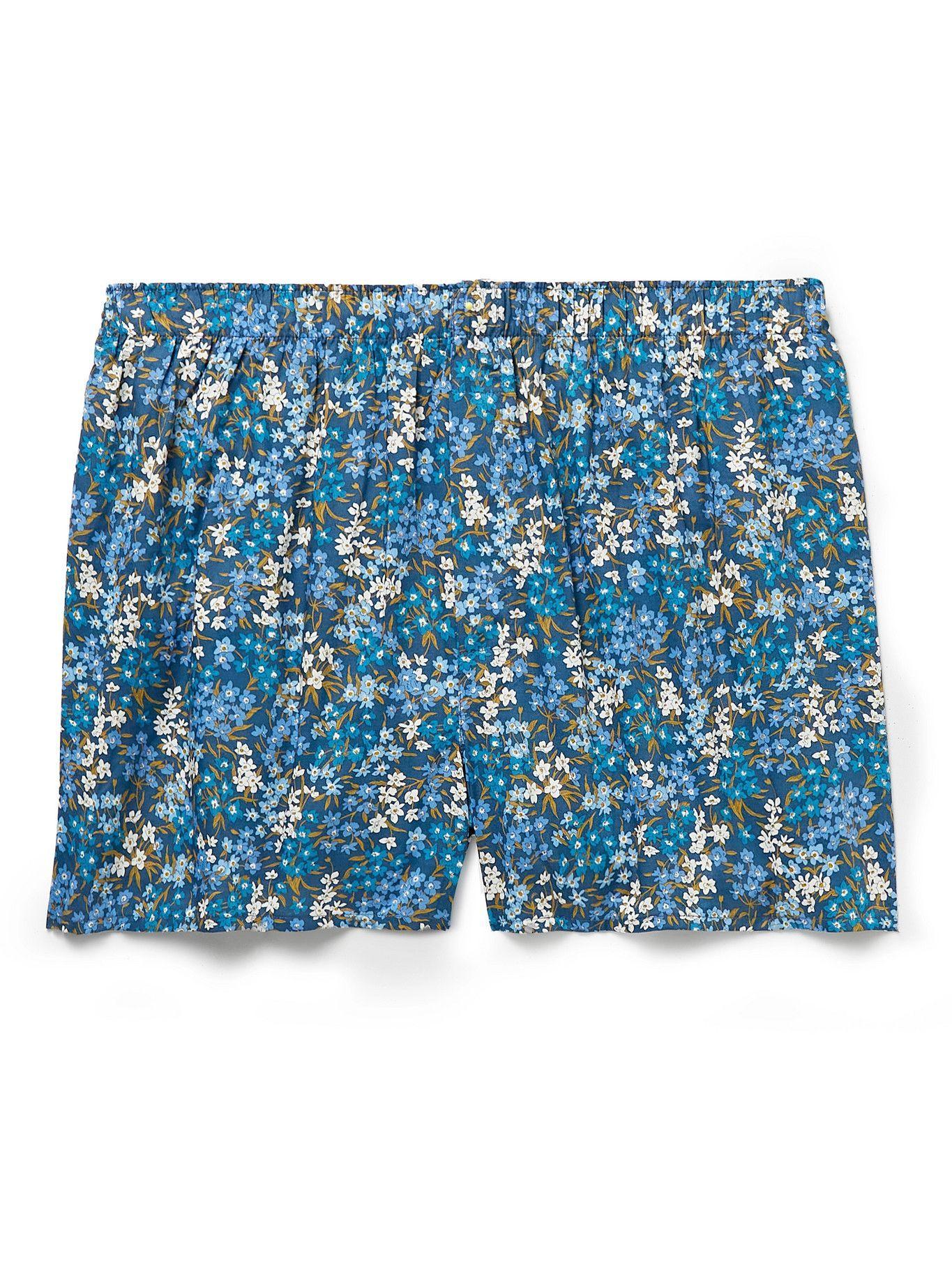 Photo: Sunspel - Floral-Print Cotton Boxer Shorts - Blue