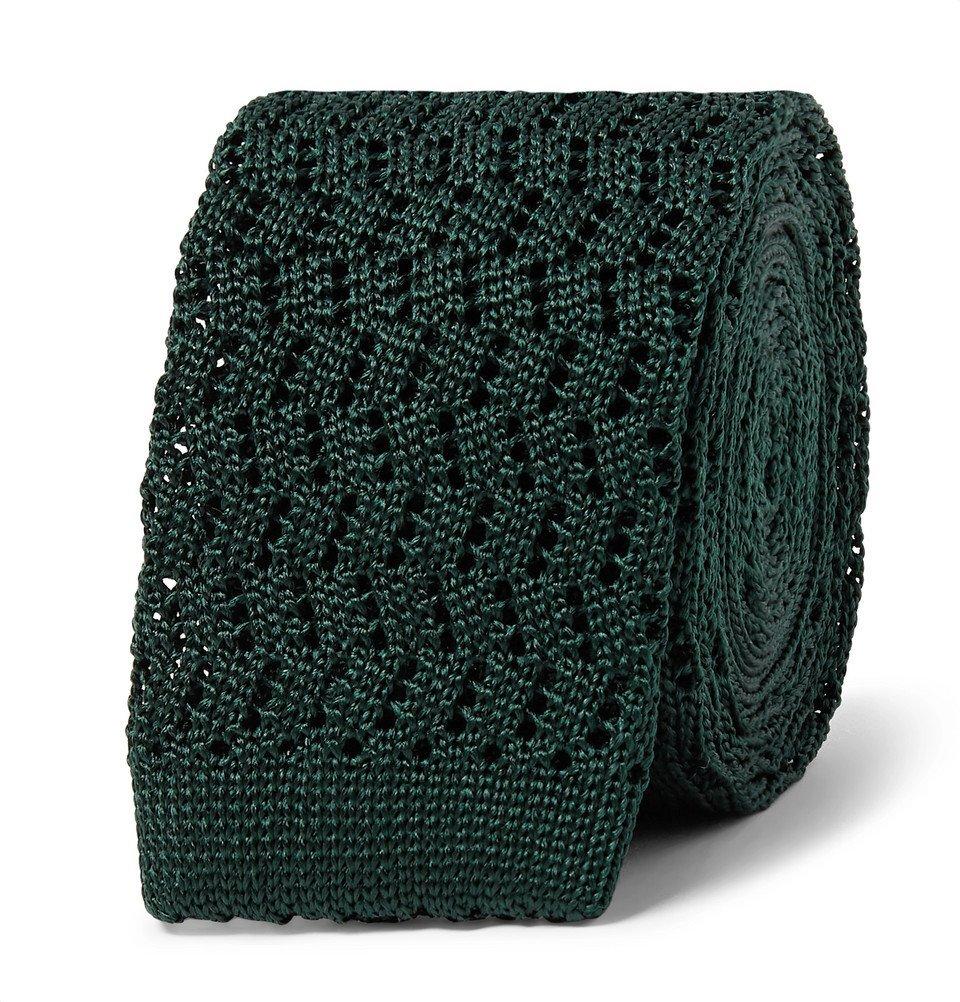 Photo: Rubinacci - 5cm Knitted Silk Tie - Dark green