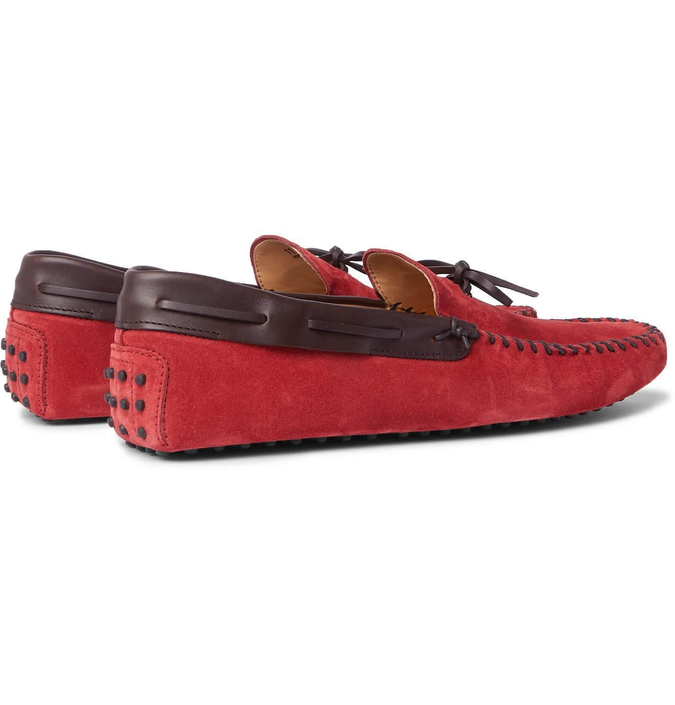 Tod's - Gommino Leather-Trimmed Suede Driving Shoes - Red