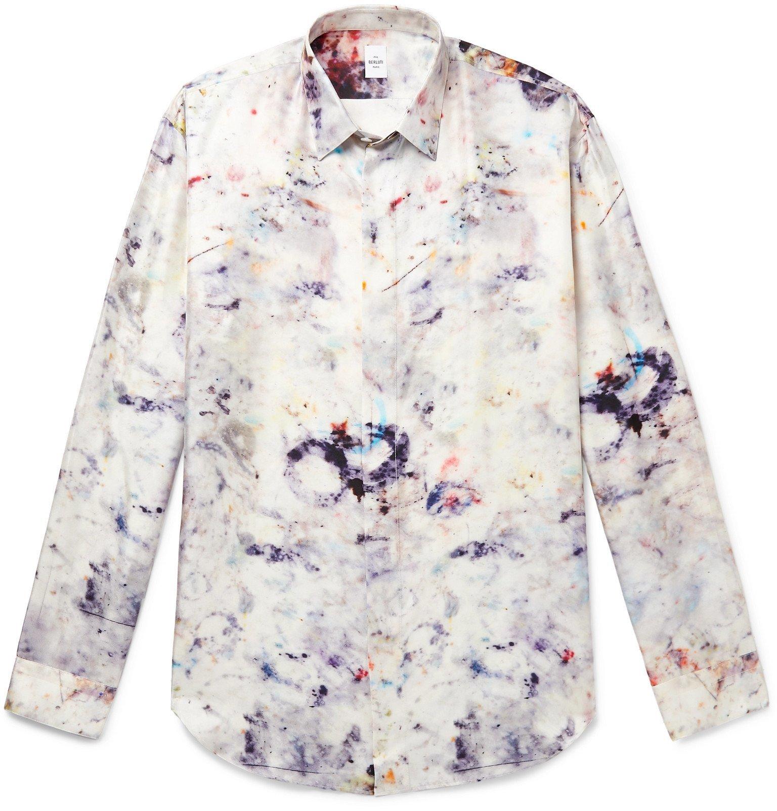 Photo: Berluti - Printed Mulberry Silk-Twill Shirt - Neutrals