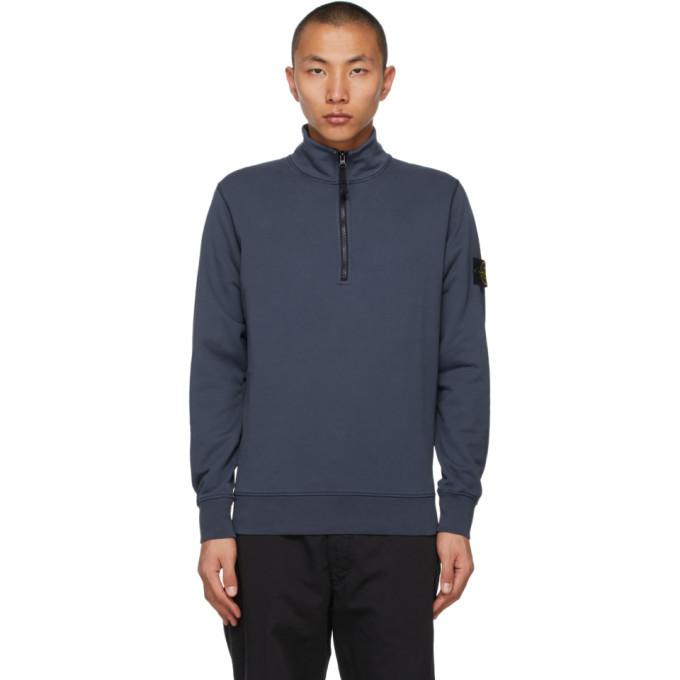 Stone Island Blue Half-Zip Sweater