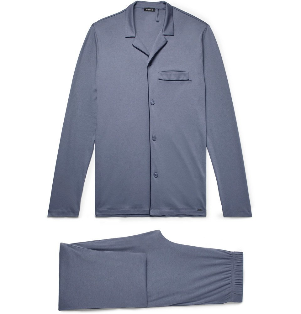 Hanro - Narius Cotton-Jersey Pyjama Set - Men - Blue
