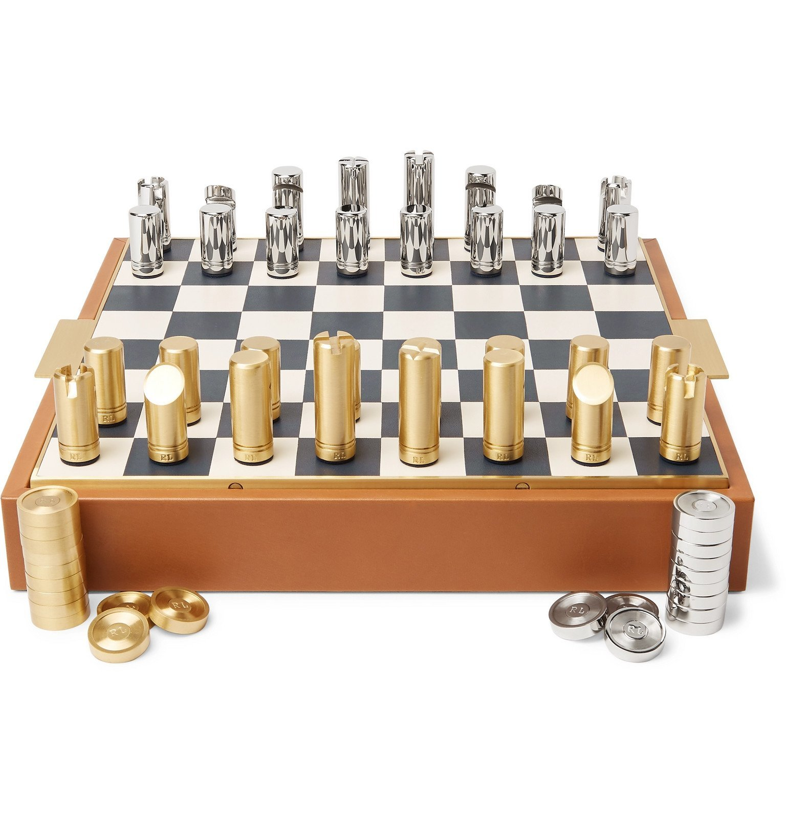 Photo: Ralph Lauren Home - Fowler Leather Chess Set - Brown